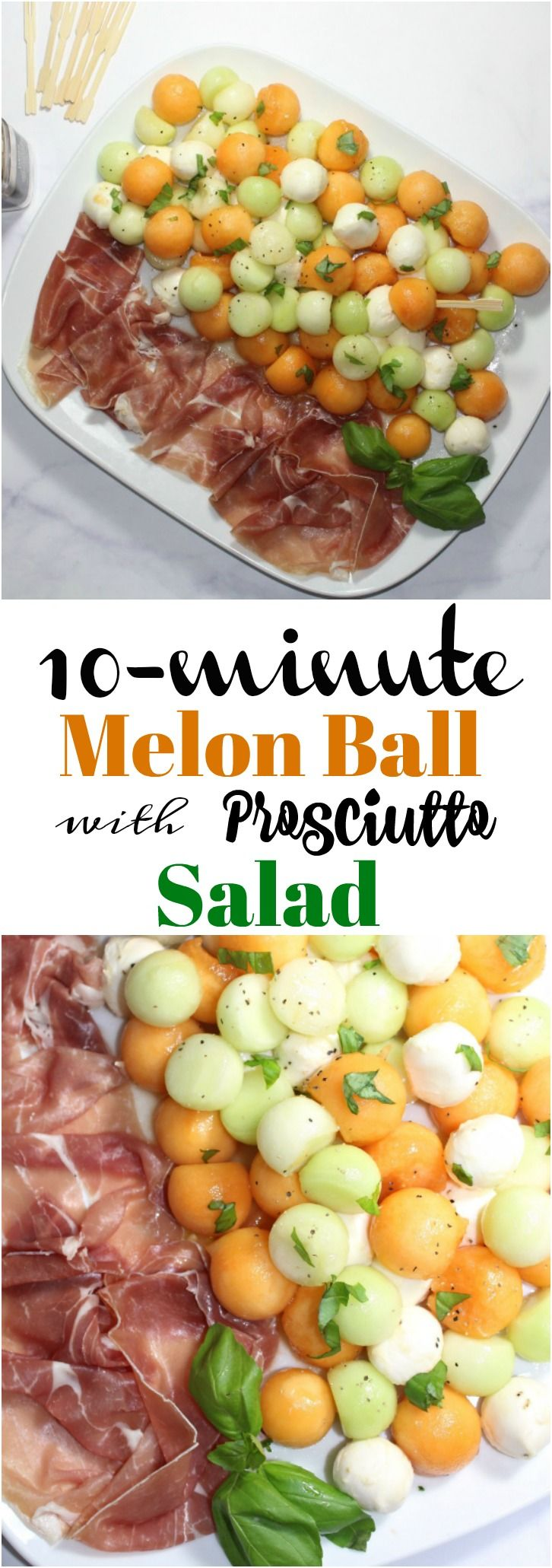 This 10-minute colorful, light and refreshing Melon Ball Prosciutto Salad is perfect an easy appetizer or side dish. The saltiness of the prosciutto and the sweetness of the melons make this appetizer incredibly delicious.