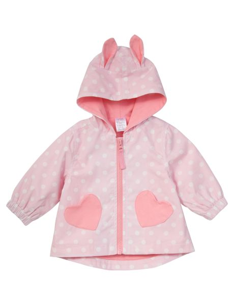 Great for layering this super cute lightweight jacket features an all-over spot and heart print with ears on the hood. Fully lined,  this jacket has ears on the hood, and a front zip. #newandnow
