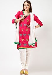 Pink coloured, embroidered ethnic suit set for women from Anahi. Made of Jacquard fabric, this suit set comprises a kurta, dupatta and churidar. The knee-length kurta has 3/4th sleeves and a V-neck.