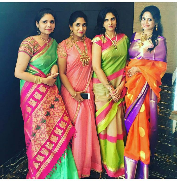 Peach saree and blouse what a combo