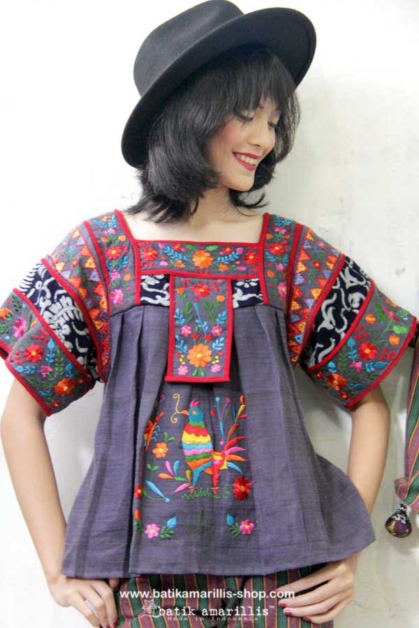 Batik Amarillis made in Indonesia proudly presents....Batik Amarillis's Frida embroidery blouse with the twist! This magnificent Mexican traditional inspired blouse is super pretty & comfy with its bold & beautiful embroidery Armed with charming playful patchwork batik gedog Tuban with embroidery which make this is so unique and special! #batikamarillis #mexicanembroidery