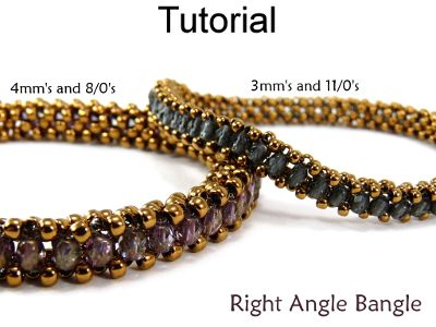 Right Angle Weave RAW Bangle Bracelet Jewelry Making Beading Pattern Tutorial | Simple Bead Patterns 4mm and 8s. 3mm and 11s (1) 11, (1) 3, (1) 11, (1) 3 first stitch