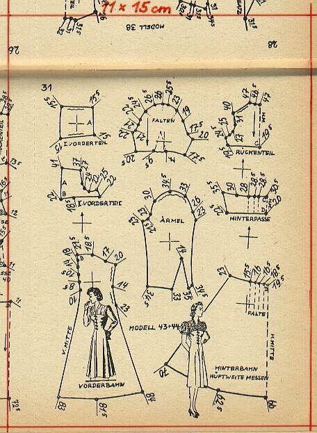 1940s dress pattern draft 2