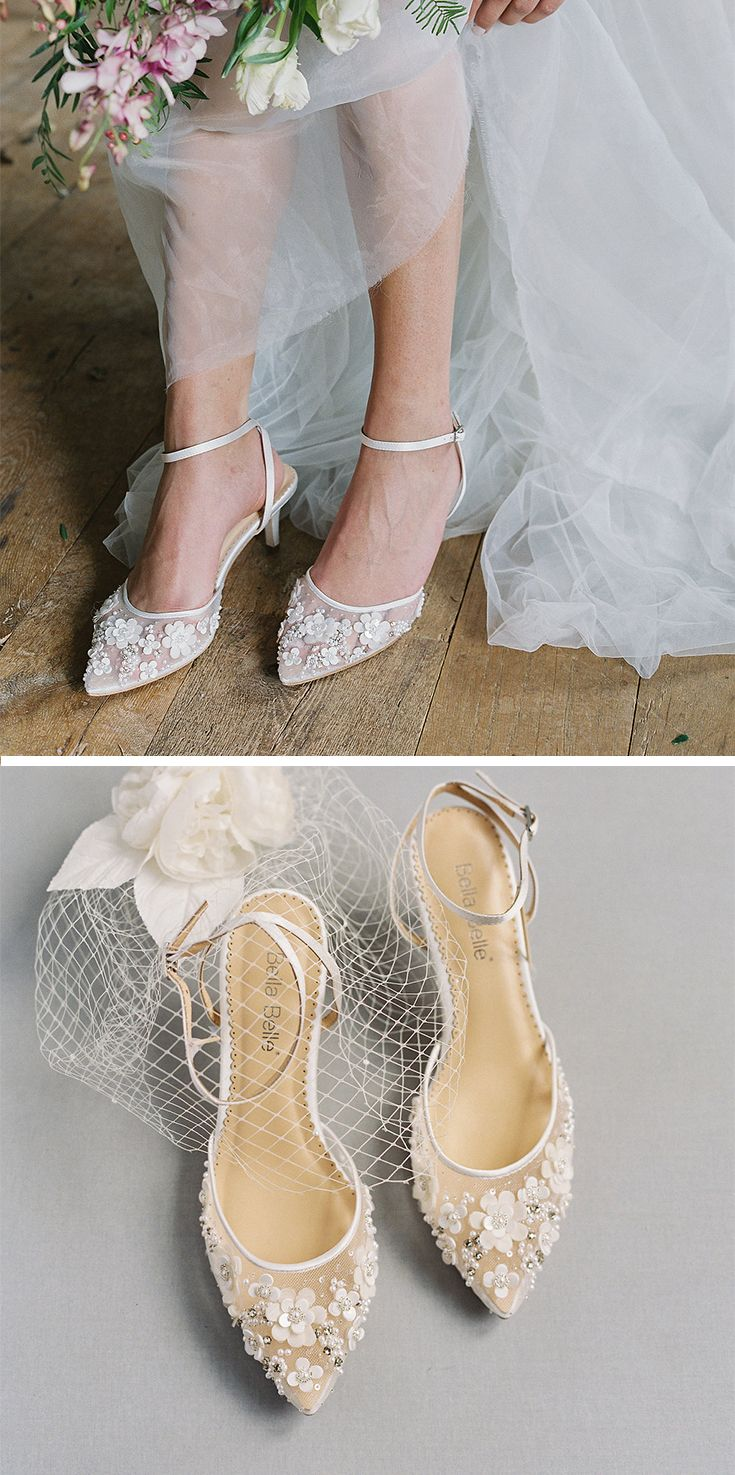 Rosa Floral Beaded Low Heel Ivory Wedding Shoe Bridal Shoes