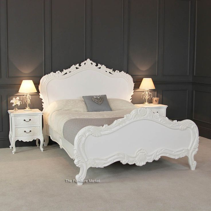 French Cau White Super Kingsize 6ft Painted Heavy Carved Bed Price 659 00 Http