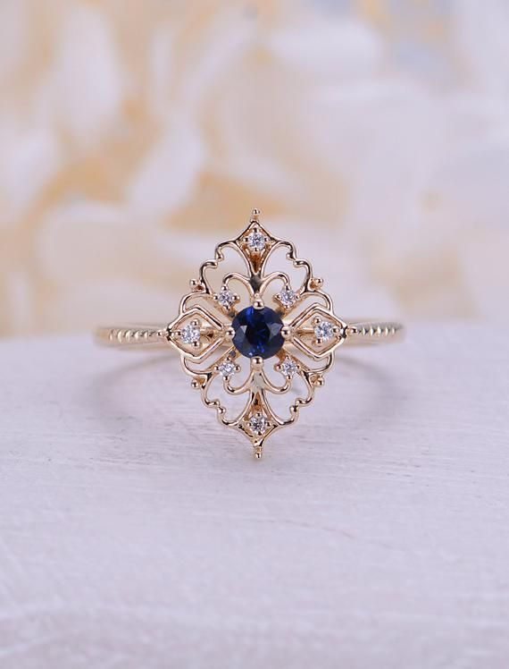 Art deco engagement ring Vintage Sapphire engageme…