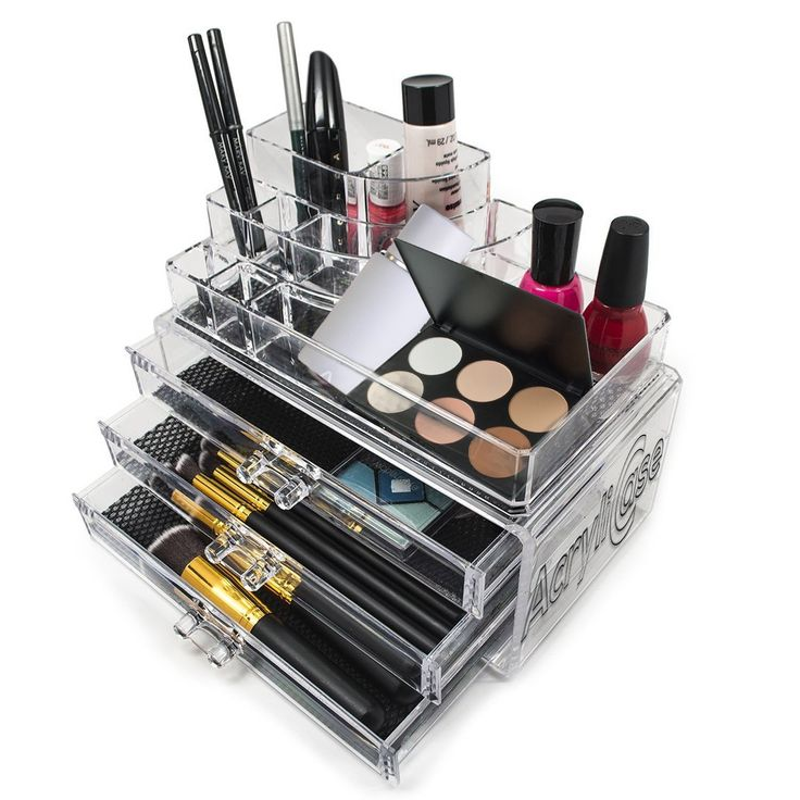 Acrylic Makeup Organizer Cosmetic Display 3 Drawer Jewerly Makeup Case Lipstick and Brush Holder by Acrylicase®