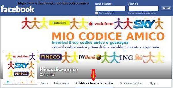 miocodiceamico è anche su #facebook pubblica il tuo codice amico e risparmia con telefono, energia, banche, acquisti online