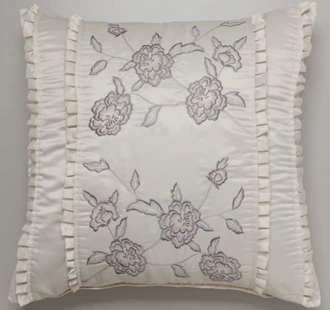 Sheri Ivory PRIVATE COLLECTION  Features: Matt satin padded central panel with contrast floral embroidery Pleated frills Plain matt satin reverse  Dimensions: x1 European Pillowcase - 65cm x 65cm - #pillowcases