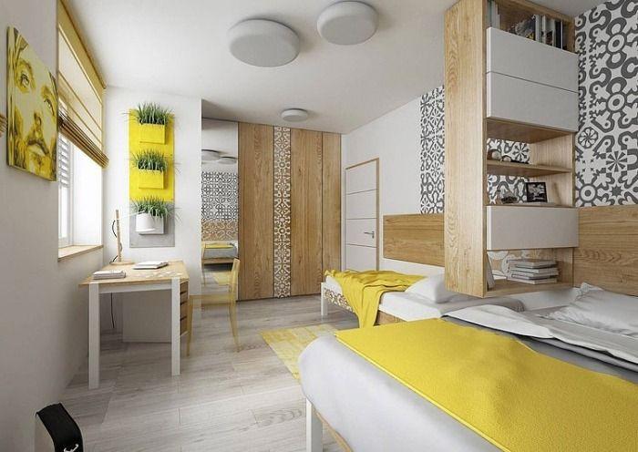 chambre ado moderne en blanc, gris et jaune, mobilier en bois clair
