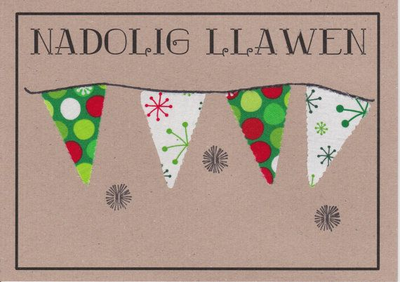 (^o^) Kiddo (^o^) Crafts - Hand made card with the words NADOLIG LLAWEN which is Merry Christmas in Welsh.