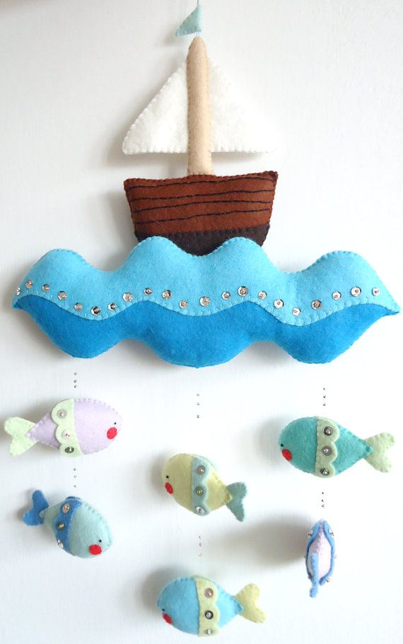 PDF pattern Nautical mobile. Felt mobile with boat by iManuFatti