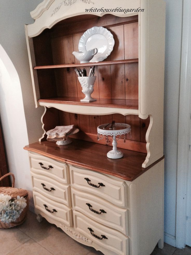 French Provincial Hutch Painted In Buttermilk Cream By