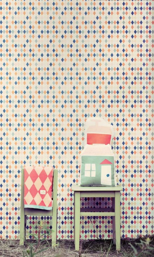 Ferm Living // at Darling Clementine CRAZY COLORED AND PATTERNED WALLPAPER. LOVE IT!