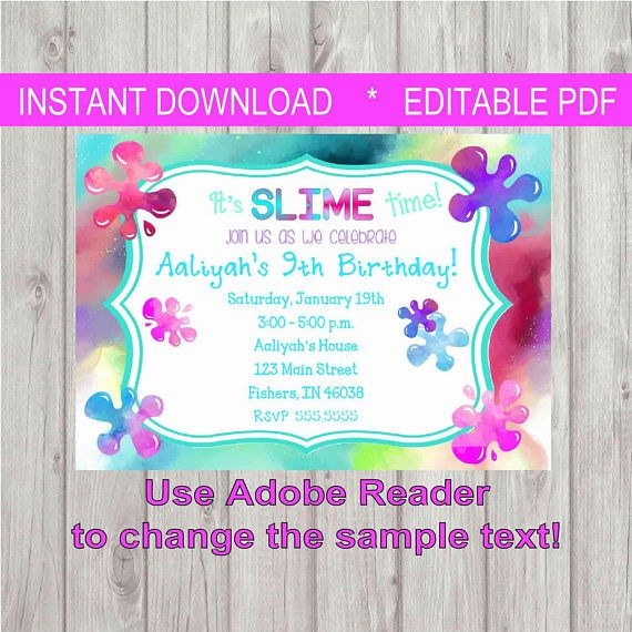 This Item Is Unavailable Slime Birthday Girls Party Invitations Rainbow Slime