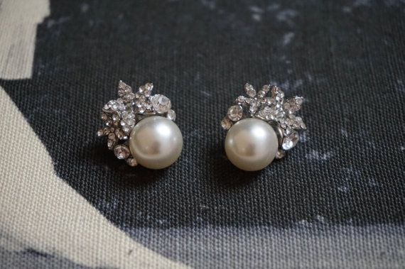 Crystal & Ivory Pearl Studs | $33.58 (only up to 3 pairs- contact seller)