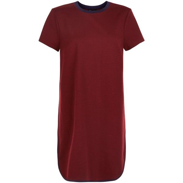 New Look Burgundy Contrast Trim T-Shirt Dress ($20) ❤ liked on Polyvore featuring dresses, burgundy, burgundy red dress, red dress, red t shirt dress, new look dresses and tee dress