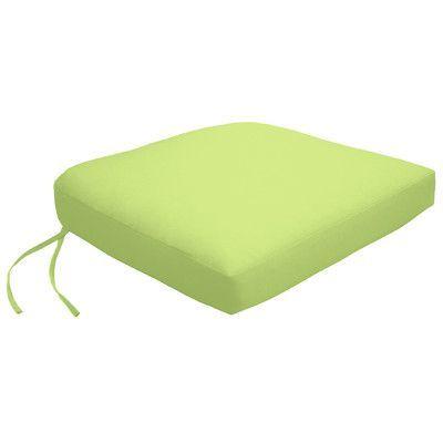 Wayfair Custom Outdoor Cushions Knife Edge Outdoor Contour Dining Chair Cushion with Ties Fabric: Fresco Apple Green, Width: 21, Depth: 18