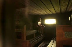 My favourite kind of sauna...quiet, with just a bit of natural light, the sound of the crackling wood in the oven, time to think, sweat and relax.