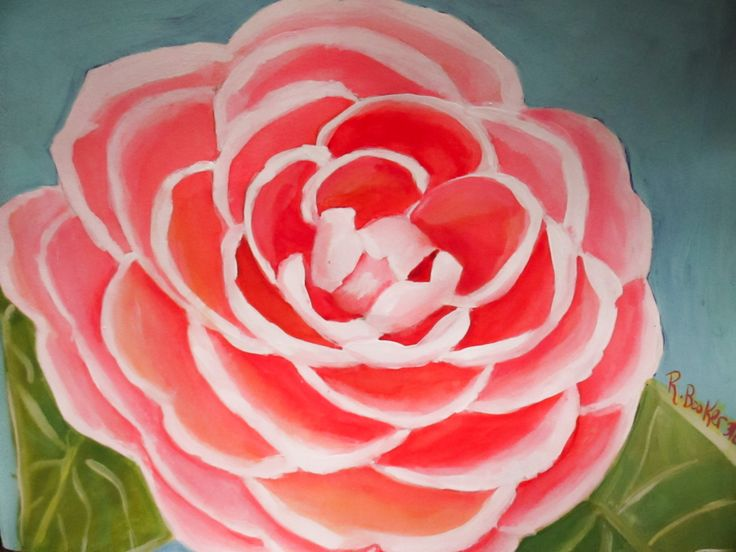 """""""Camellia"""" Mixed media painting by Robin Booker."""