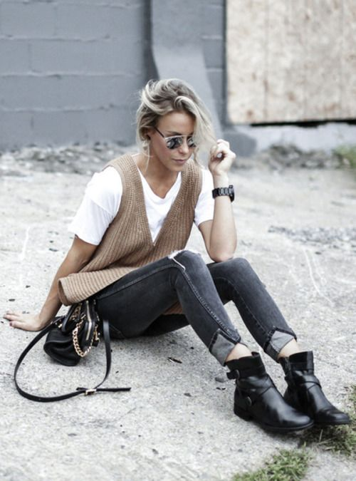 justthedesign: Wear a white tee with a brown vest ripped...