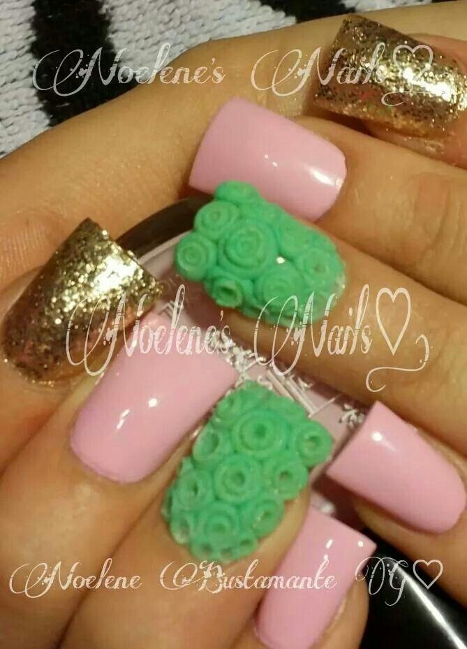 Mejores 48 imágenes de uñas color verde en Pinterest   Uñas bonitas ...