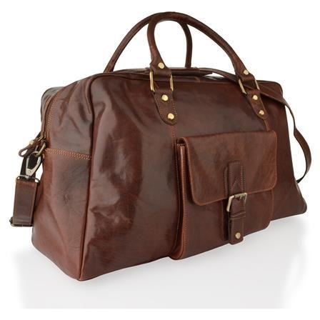 ACHICA   Woodland Leather Holdall, Mahogany