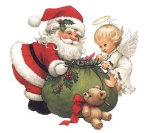 Santa Clause and Angel and Teddy.