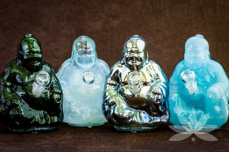 Smuggle Portland's Baby Buddha Bong Water Pipe made by Sky Glass. According to legend, if you rub the Laughing Buddha's belly, it brings forth happiness, good luck, and abundance. These beautiful Buddha water pipes, the smaller version of our Buddha Water Pipe, radiate enlightenment. These one-of-a kind, hand cast pieces are made in Eugene, Oregon from Sky Glass. #smuggleportland