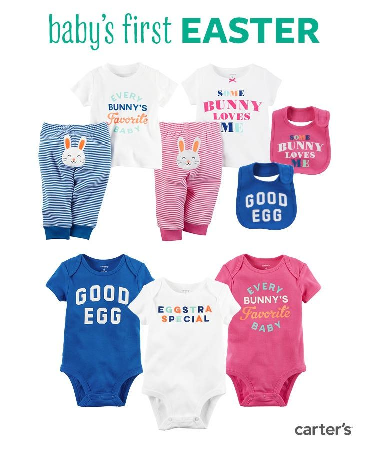 Shop eggstra special styles for baby's first Easter! 2-piece sets, cute bibs and collectible bodysuits for your little bunny.