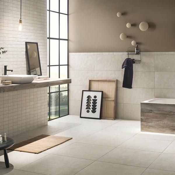 Galano Cream 30 X 60 Porcelain Large Format Wall Floor Tile Goes Well With Grey Brick Tiles Bathroom Cream Tile Bathroom Stone Tile Bathroom