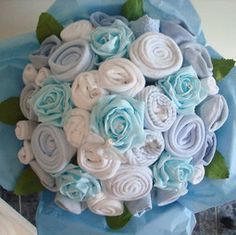 Hand-Made  Baby Boy Bouquet - Made with Real Baby Clothes