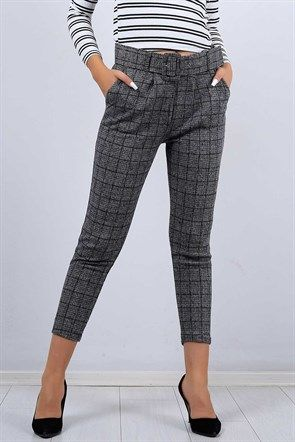 c8fe87b59b38a Desenli Antrasit Bayan Kumaş Pantolon 10222B | Bayan Pantolon ...