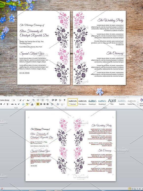 Wedding Fan Program Template. Watercolor Flowers