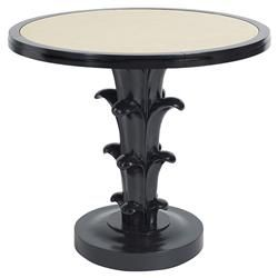 Aurelia Regency Black Lacquered Cream Top Round Side End Table   Kathy Kuo Home