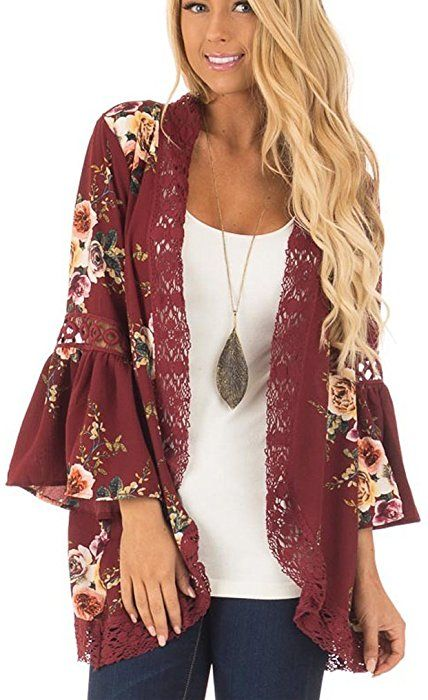 efdf333382 Womens Floral Loose Bell Sleeve Kimono Cardigan Lace Patchwork Cover up  Blouse Top (XXL