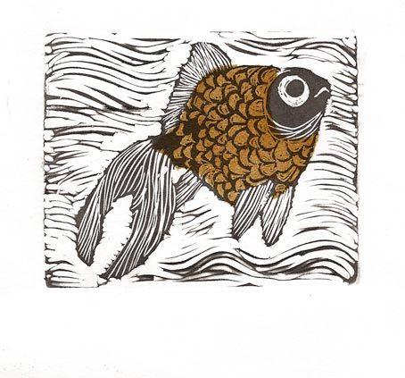 Ilustración usando la técnica de grabado con linóleo. @elenaerreart #Grabado #Linoleum  #Engraving #GoldenFish