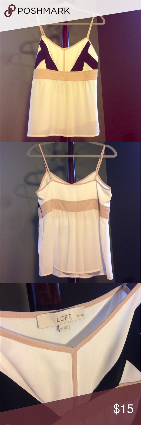 Loft Strappy Tank Top Lightweight off-white strappy tank top with black and beige accents. Machine washable crepe-like material with a side zip and hook and eye closure at the top of the zipper. In like new condition, worn only once. LOFT Tops Tank Tops