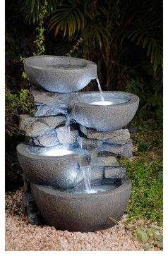 Modern Bowls with LED Lights Indoor/ Outdoor Water Fountain - contemporary - outdoor fountains - Overstock.com