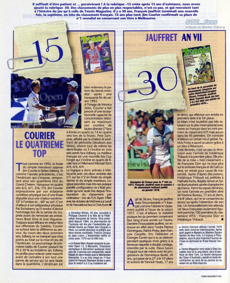 """The section """"-15"""" of Tennis Magazine, in the issue of March 2008, is dedicated to Jim Courier's victory against Stefan Edberg in the final of the 1993 Australian Open."""