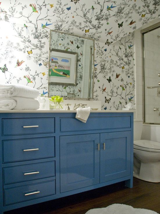 Schumacher birds and butterflies wallpaper and glossy blue for Best wallpaper for small bathroom