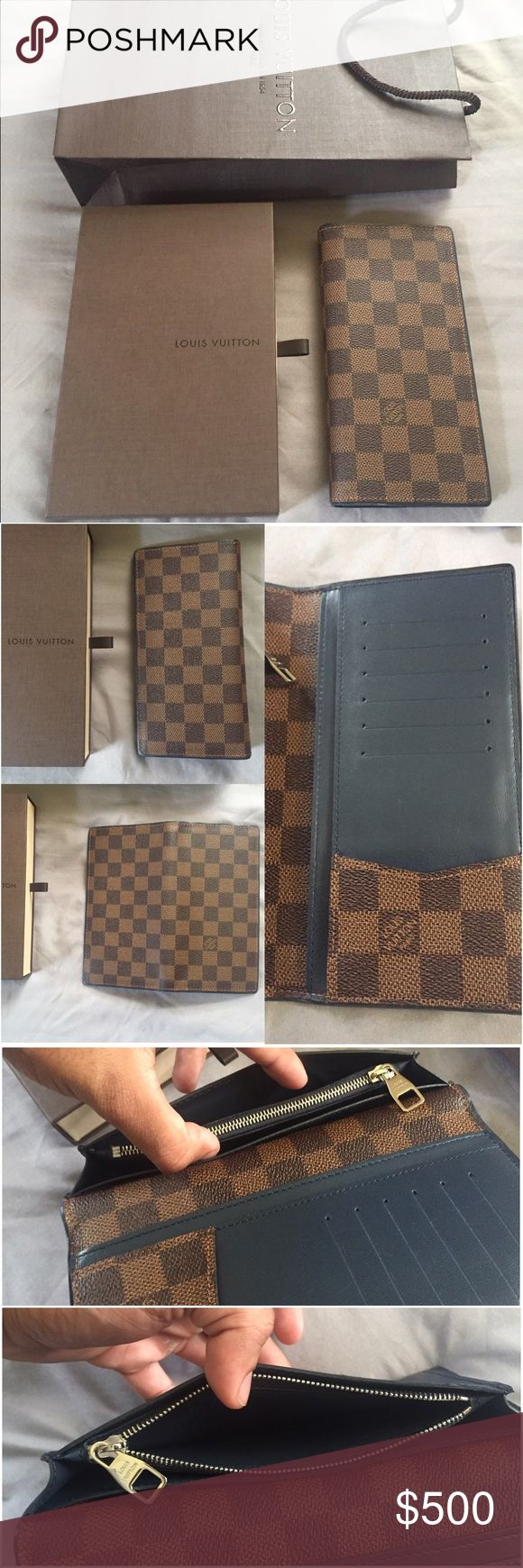 Louis Vuitton Brazza Long Wallet Ebene Blue M63168 Pre-owned well kept and used gently with care! LV Brazza Long Wallet Damier Ebene canvas with Navy blue trim Portefeuille wallet!8/10 condition has some small blemishes!  Included: LV drawer box and shopping bag! (No dustbag or tags!) Model: M93801 Serial inside: VI0146 Will go lower through 🅿️🅿️al $420 shipped! Signature confirmation is a must along with insurance! No scams, no BS! This will not last long! Act Fast, this is cross listed…