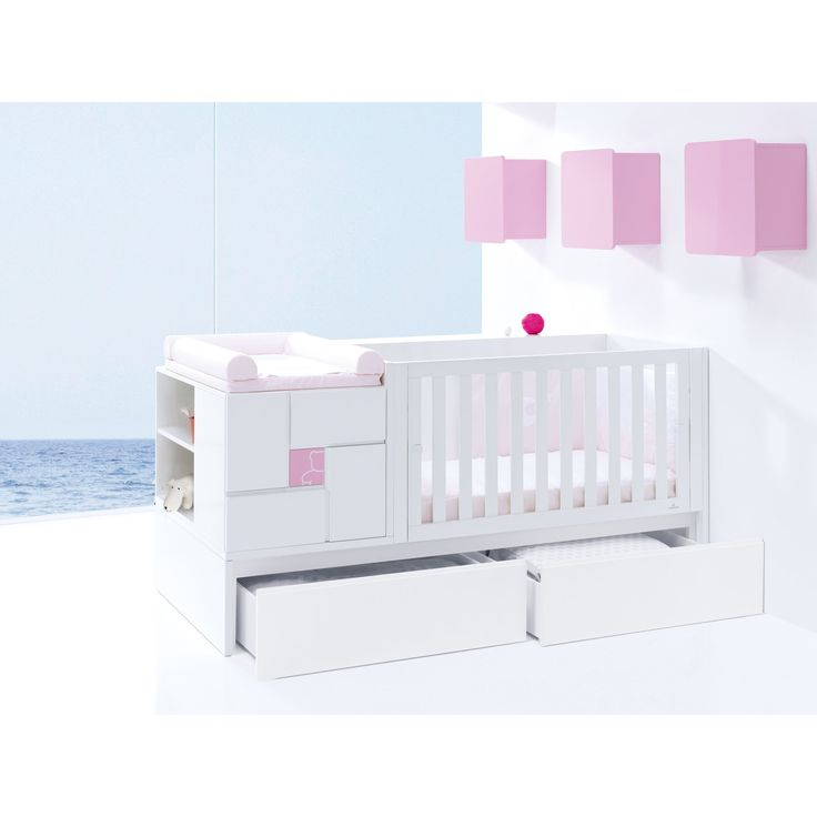 Stunning Clip convertible cot bed in white and pale pink with a little teddy design. Choose from pull out drawers or a trundle bed. Converts to a toddler room and junior room afterwards! http://www.casabebe.co.uk/clip-pink/