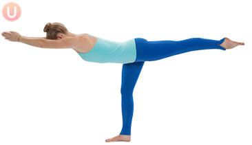 Chloe Freytag demonstrating Warrior 3 Pose in a blue tank top and yoga pants