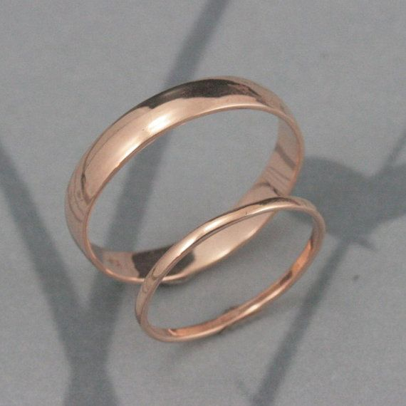 Through Thick and Thin Wedding Set--Solid 14K Gold Rounded Wedding Band Set--His and Hers Bands-