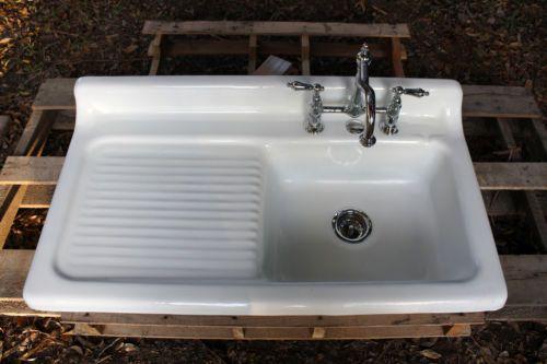 1947 cast iron porcelain drop in farm house drainboard sink 42 x 22 original f house sink. Black Bedroom Furniture Sets. Home Design Ideas