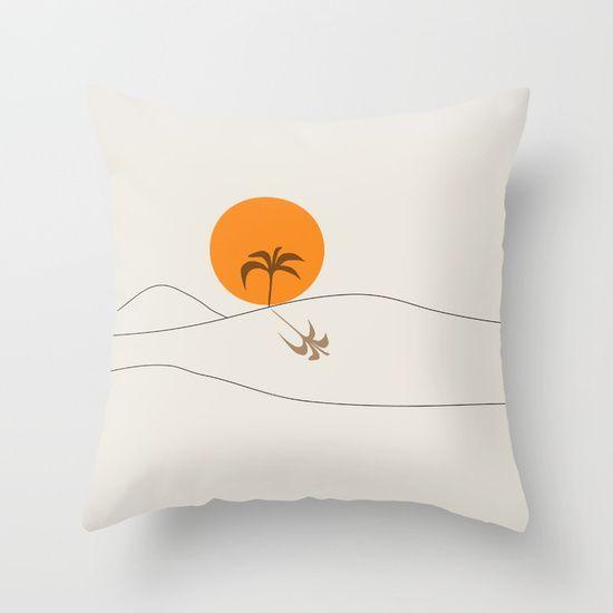 Desert Heat and Palm Throw Pillow