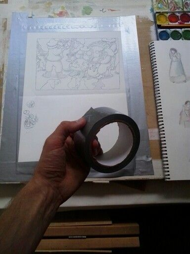 To color the illustration I tape it to a wooden board. Other wise the paint will make the paper rinkle.