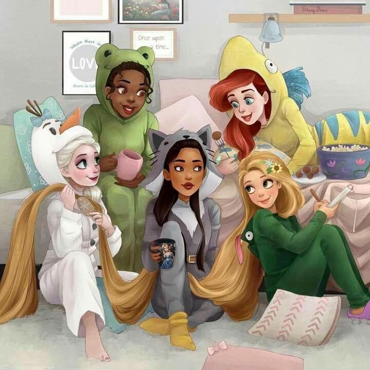 Princesas com seus pigamas