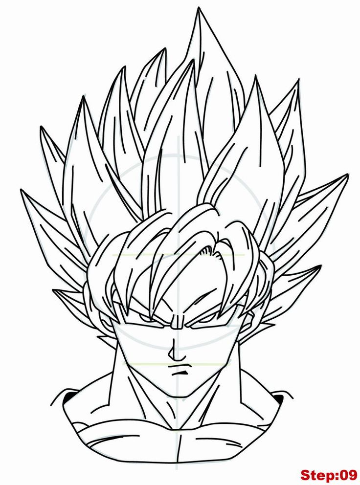 Drawing Goku Super Saiyan from Dragonball Z Tutorial Step 09